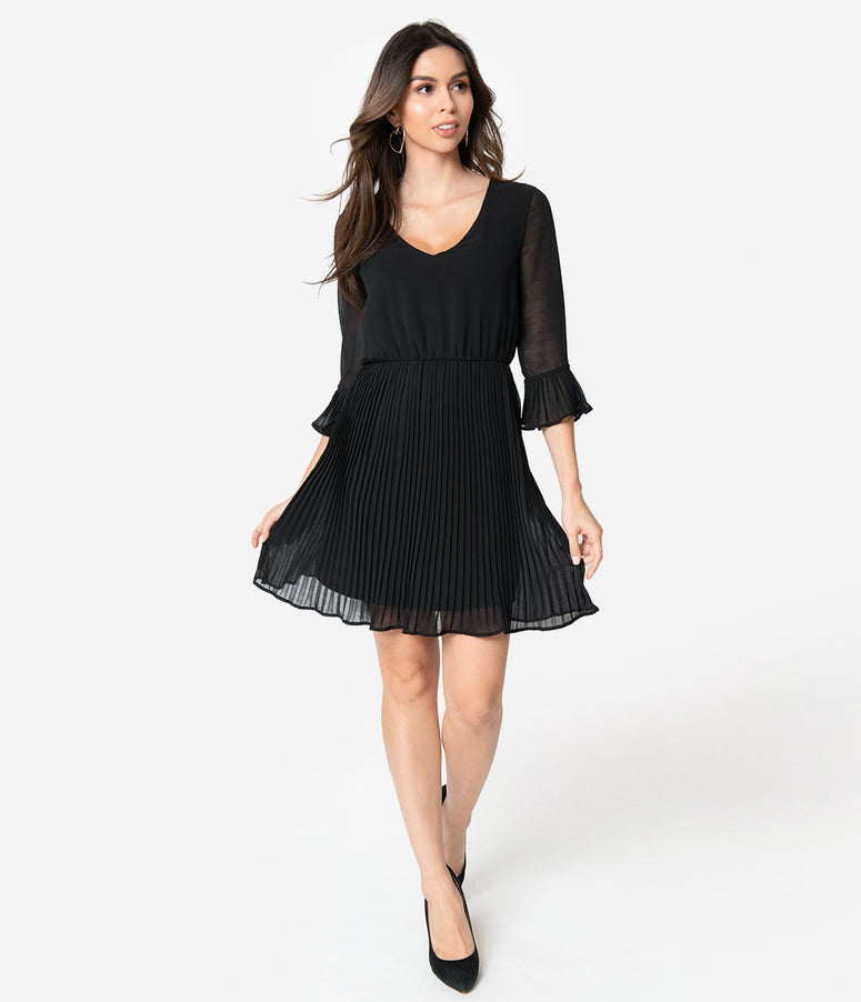 Smak Parlour Black Chiffon Sleeved Lead Like A Girl Fit & Flare Dress