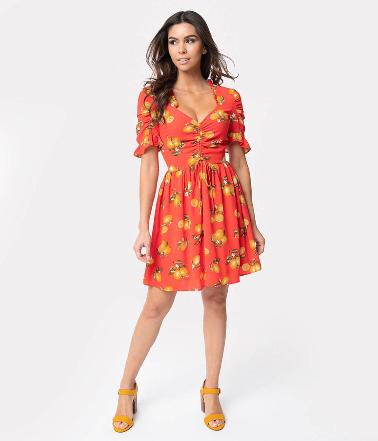 5f6ccb47ac Smak Parlour Coral Red & Lemon Print Sweetheart Media Darling Fit & Flare  Dress