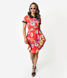 Smak Parlour Red & Multicolor Floral Babe Revolution Fit & Flare Dress