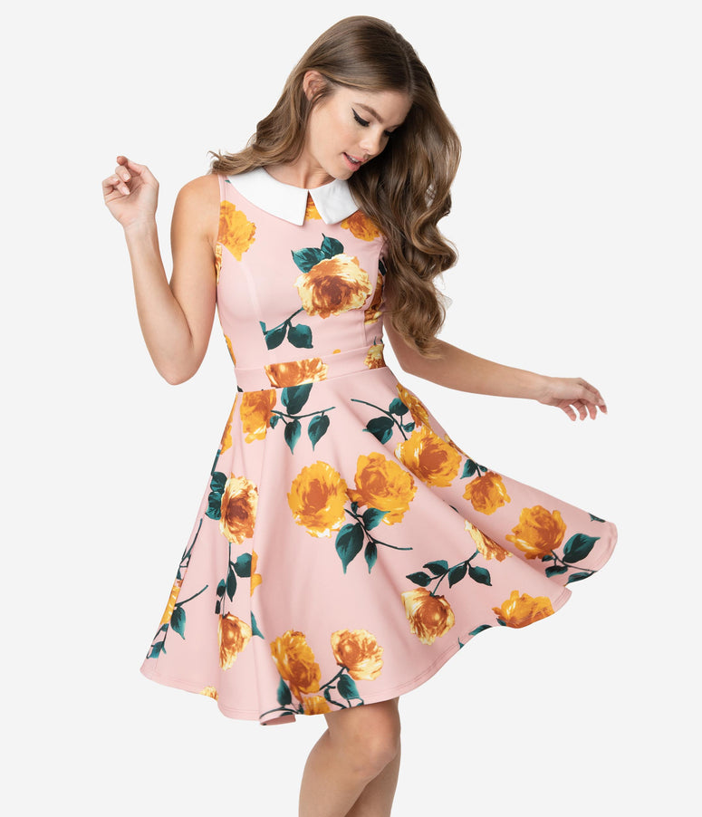 Smak Parlour Light Pink & Yellow Floral White Collar Closing Night Fit & Flare Dress