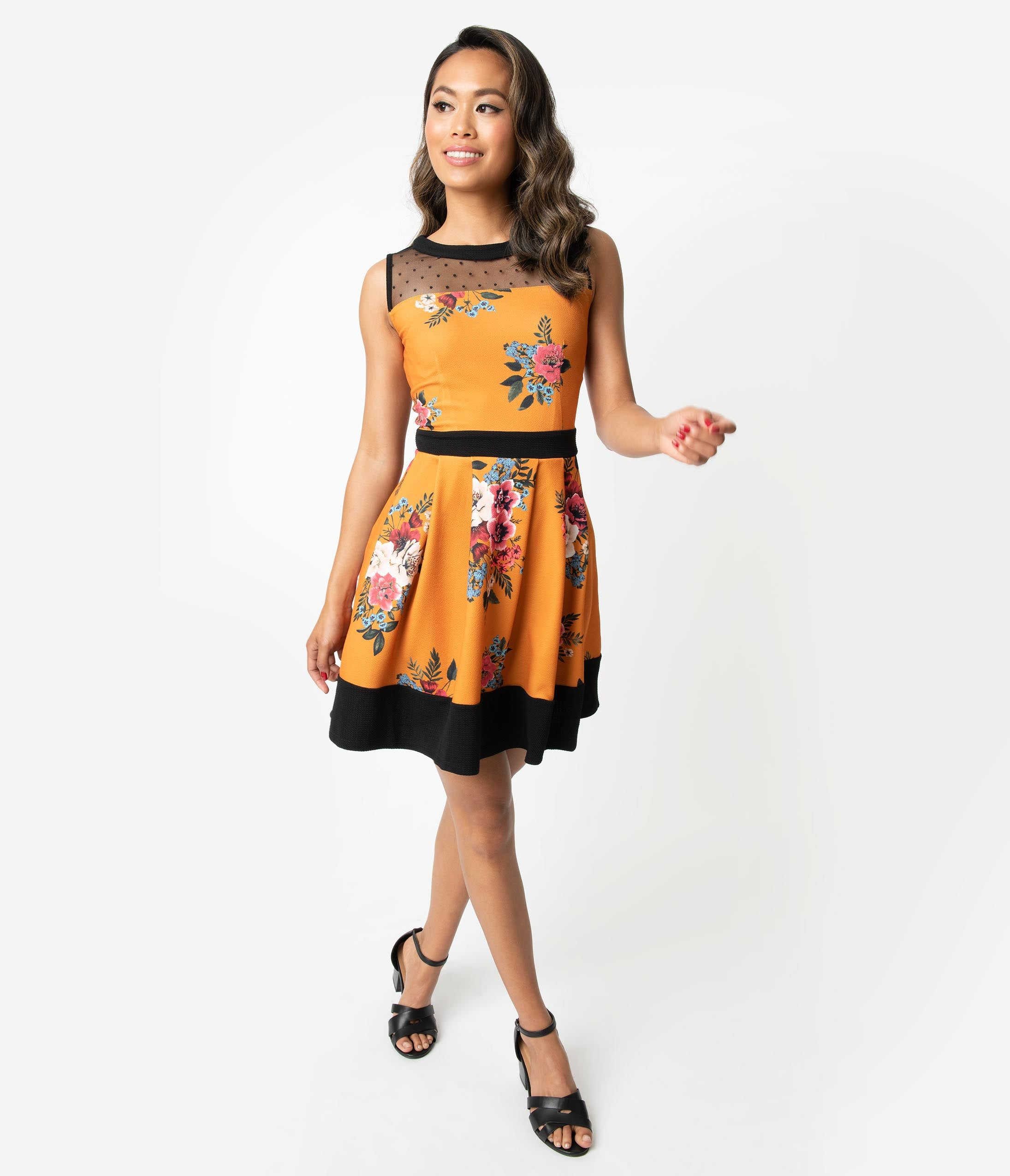 A-line Colorblocking Mesh Pocketed Back Zipper Fitted Stretchy Pleated Banding Fit-and-Flare Floral Dots Print Above the Knee Dress