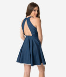 Smak Parlour 1960s Style Denim Blue Halter Full Glam Ahead Fit & Flare Dress