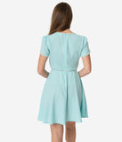 Smak Parlour Mint & White Dotted Trim Pretty Woke Faux Wrap Flare Dress