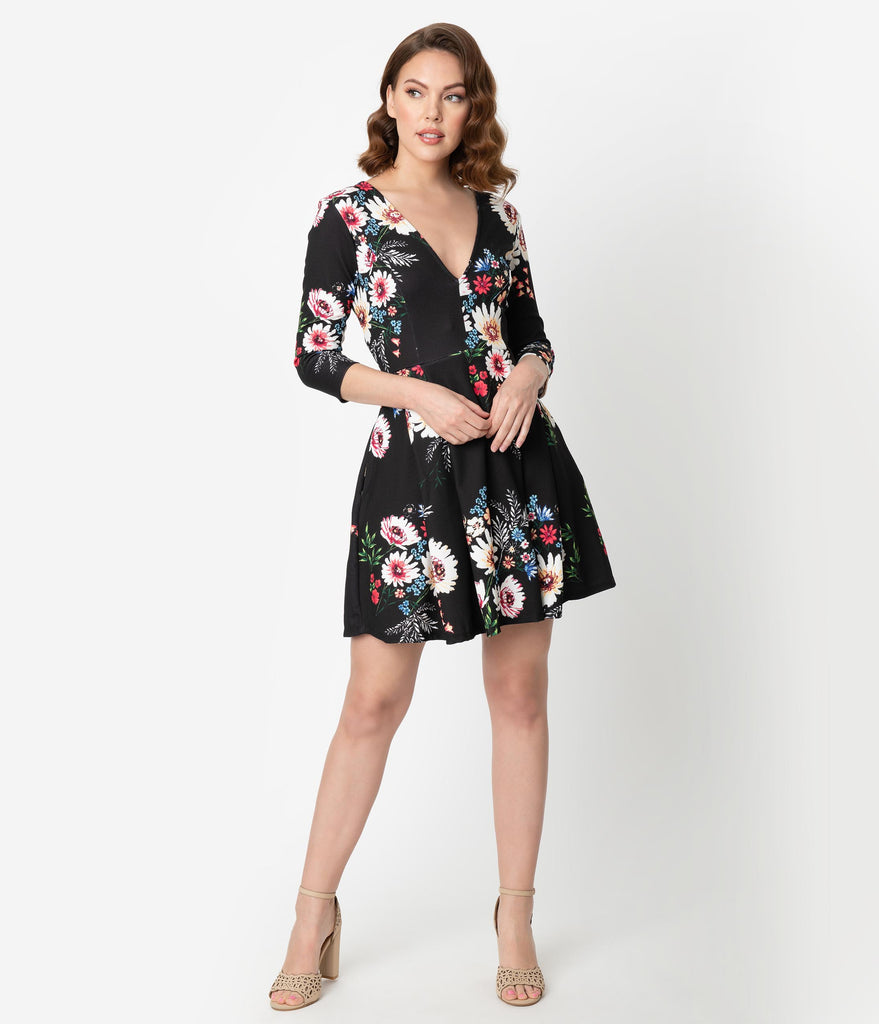 Smak Parlour Vintage Style Black & Multicolor Floral Frill Seeker Fit & Flare Dress