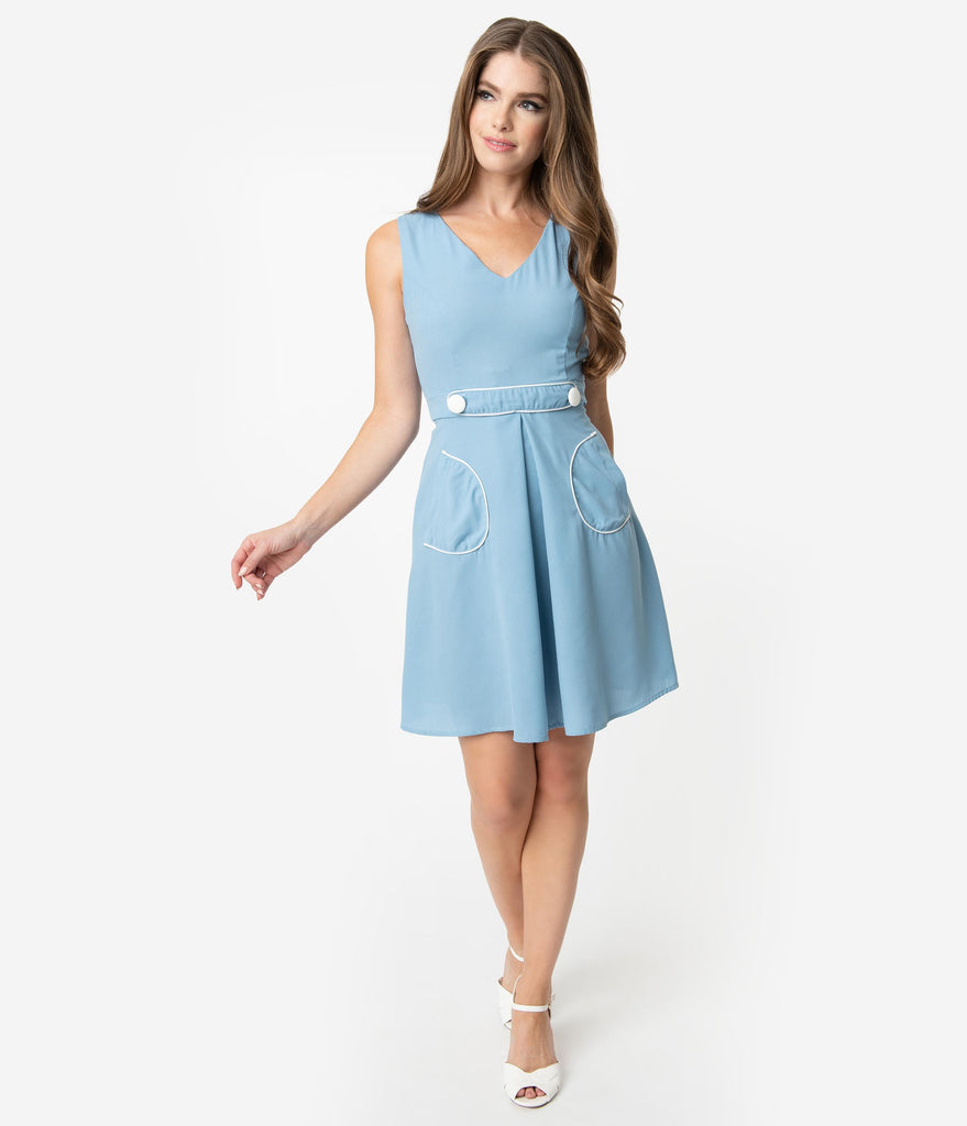 Smak Parlour 1970s Style Light Blue & White For Keeps Fit & Flare Dress