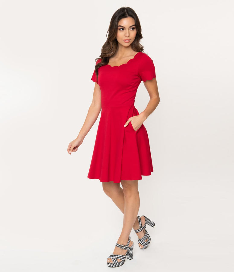 Smak Parlour Red Stretch Scalloped Short Sleeve Charmed Fit & Flare Dress