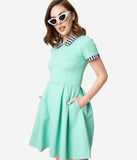 Smak Parlour Mint & Black Gingham Babe Revolution Fit & Flare Dress
