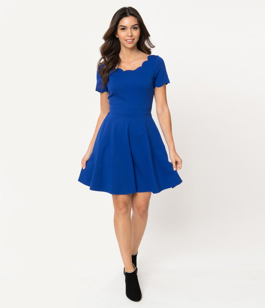 Smak Parlour Royal Blue Stretch Scalloped Short Sleeve Charmed Fit & Flare Dress