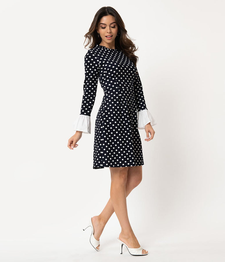 03d5e98b71 Smak Parlour Vintage Style Navy & White Polka Dot Sleeved Doll Gang Fit &  Flare Dress