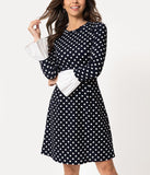 Smak Parlour Vintage Style Navy & White Polka Dot Sleeved Doll Gang Fit & Flare Dress