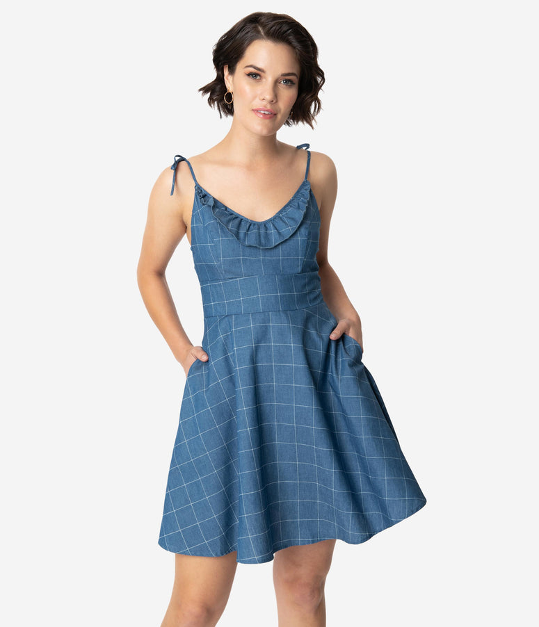 Smak Parlour Denim Blue & White Windowpane Cotton Work Of Tart Fit & Flare Dress
