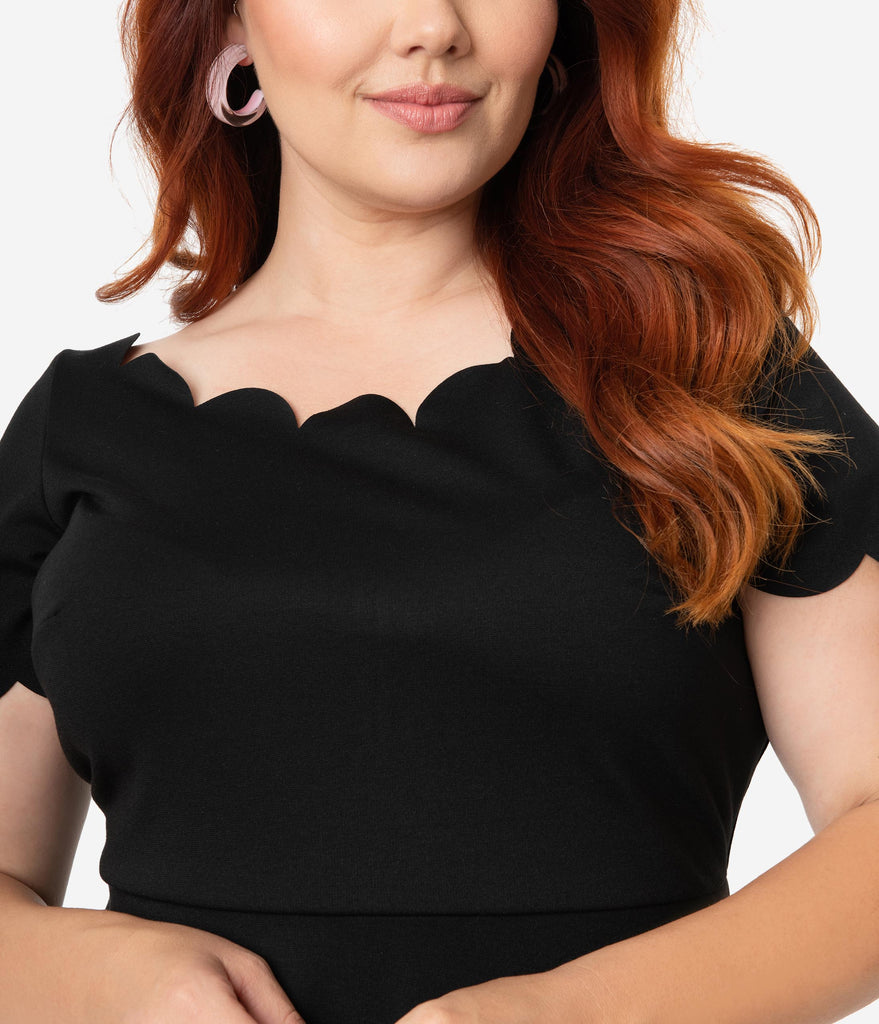 Smak Parlour Plus Size Black Stretch Scalloped Short Sleeve Charmed Fit & Flare Dress