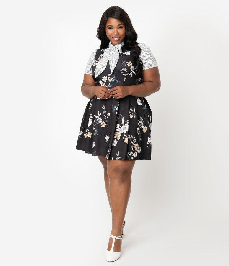 d91d734d202ea Smak Parlour Plus Size 1960s Style Black Floral & White Dotted Empower Hour  Fit & Flare