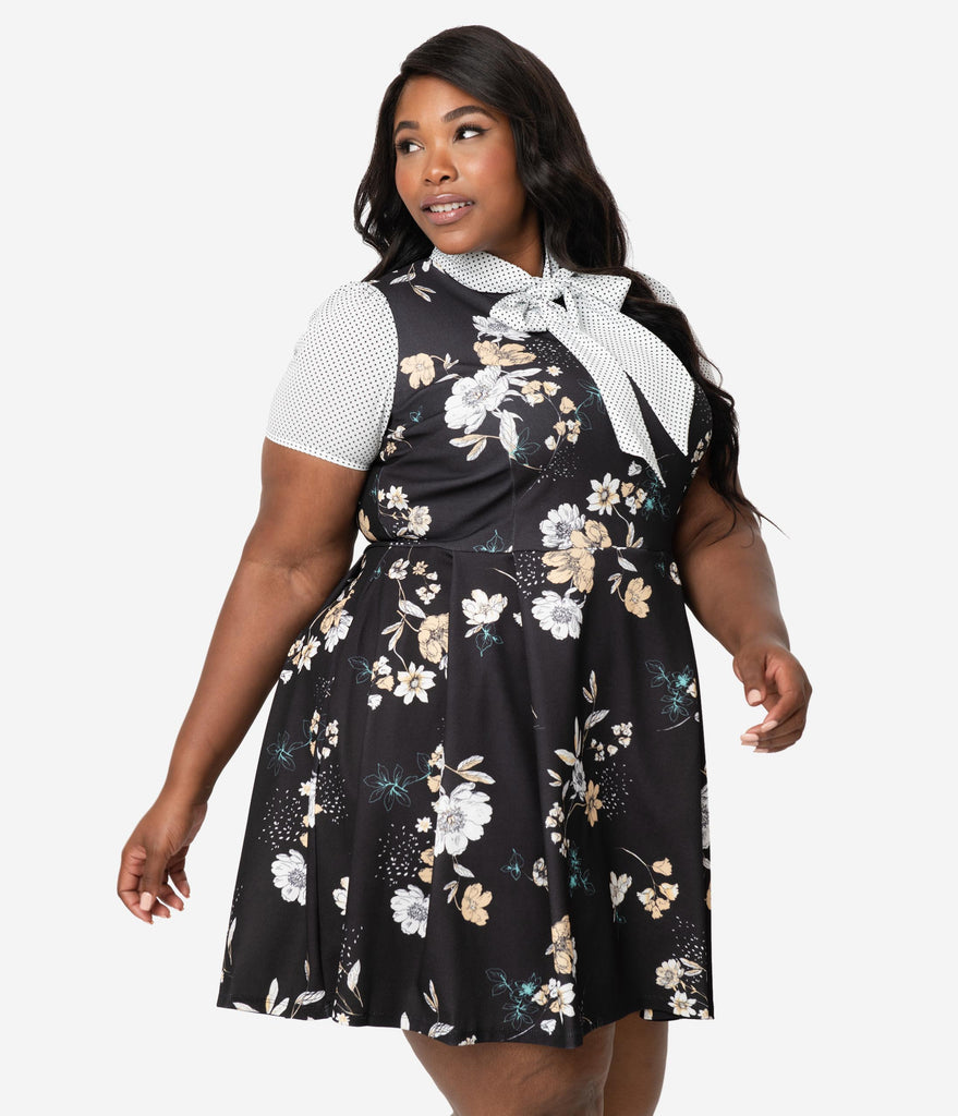 Smak Parlour Plus Size 1960s Style Black Floral & White Dotted Empower Hour Fit & Flare Dress