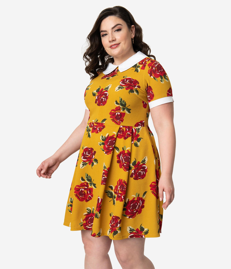 Smak Parlour Plus Size Mustard & Red Floral Babe Revolution Fit & Flare Dress