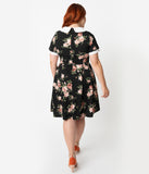 Smak Parlour Plus Size Black & White Polka Dot Pink Floral Babe Revolution Fit & Flare Dress