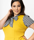 Smak Parlour Plus Size 1960s Style Mustard & Black Gingham Empower Hour Fit & Flare Dress