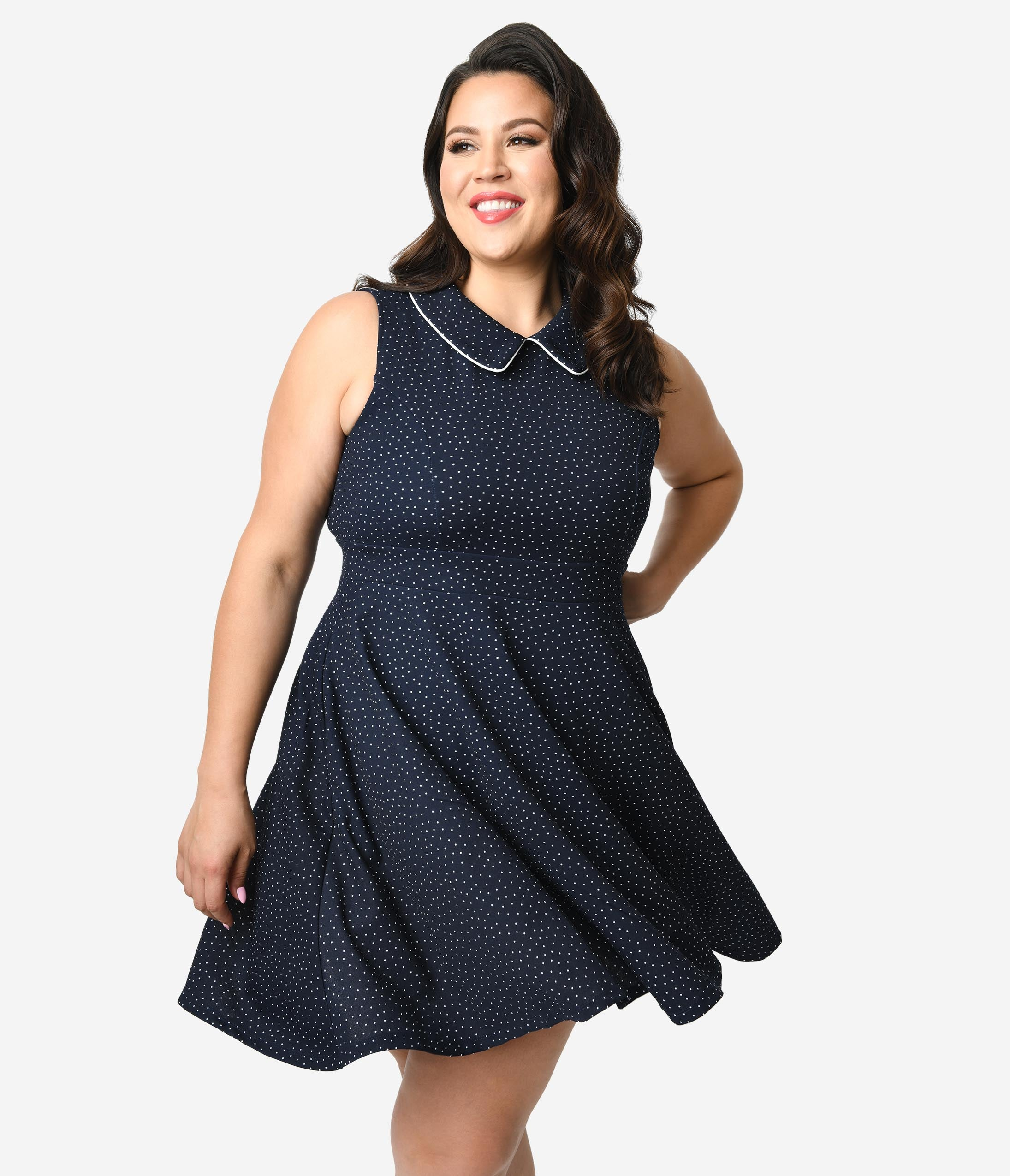 60s 70s Plus Size Dresses, Clothing, Costumes Smak Parlour Plus Size 1960S Style Navy  White Pin Dot Female Forward Sleeveless Fit  Flare Dress $68.00 AT vintagedancer.com