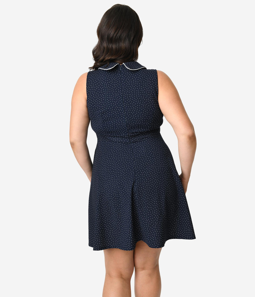 Smak Parlour Plus Size 1960s Style Navy & White Pin Dot Female Forward Sleeveless Fit & Flare Dress