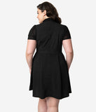Smak Parlour Plus Size 1960s Style Black & White Pin Dot Empower Hour Fit & Flare Dress