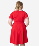 Smak Parlour Plus Size Red & White Gingham Short Sleeve Babe Revolution Fit & Flare Dress