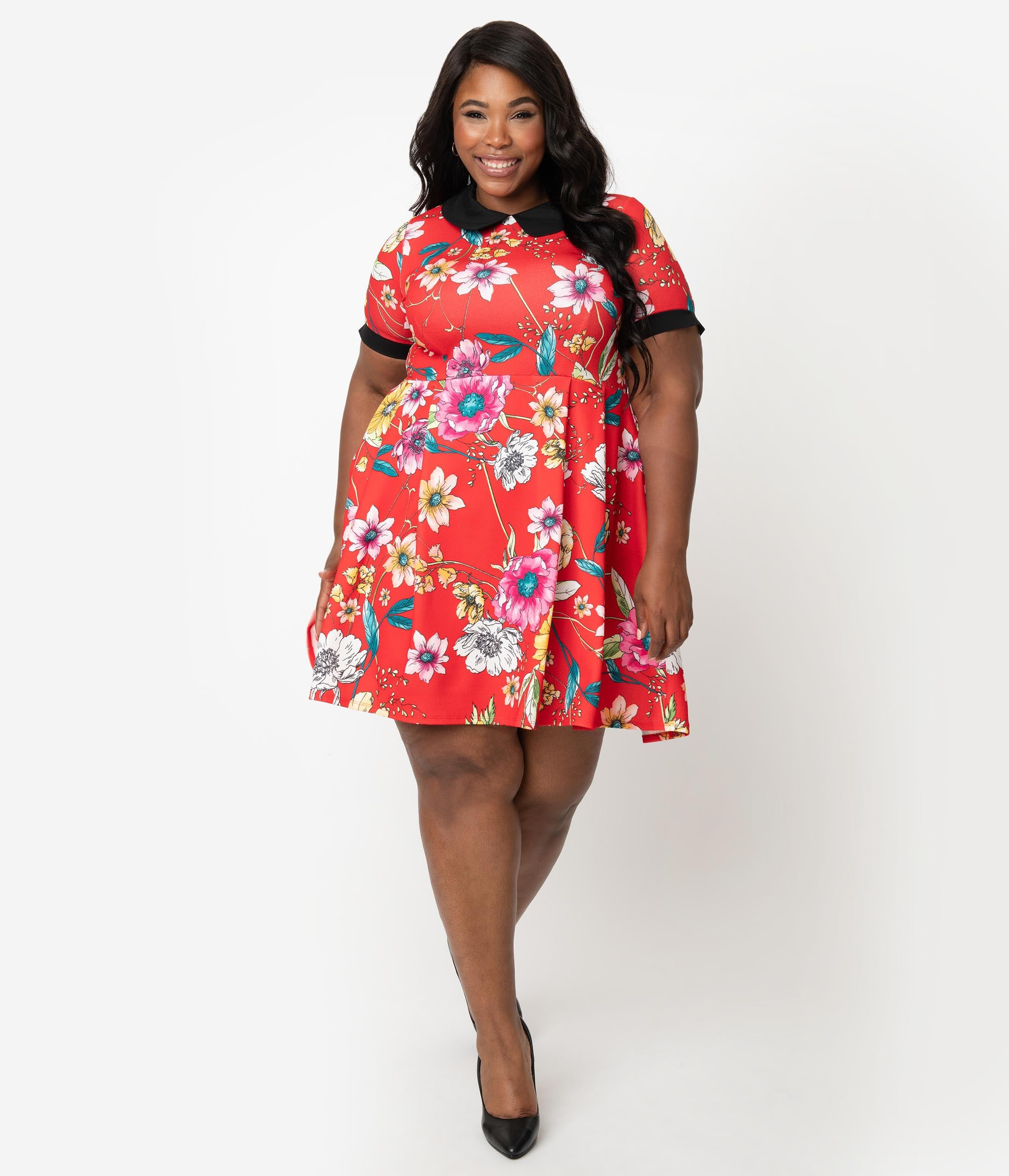 60s 70s Plus Size Dresses, Clothing, Costumes Smak Parlour Plus Size Red  Multicolor Floral Babe Revolution Fit  Flare Dress $78.00 AT vintagedancer.com