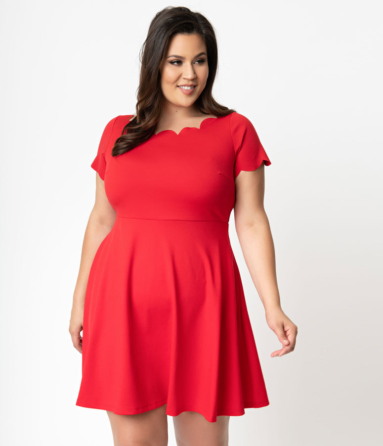 Smak Parlour Plus Size Red Stretch Scalloped Short Sleeve Charmed Fit & Flare Dress