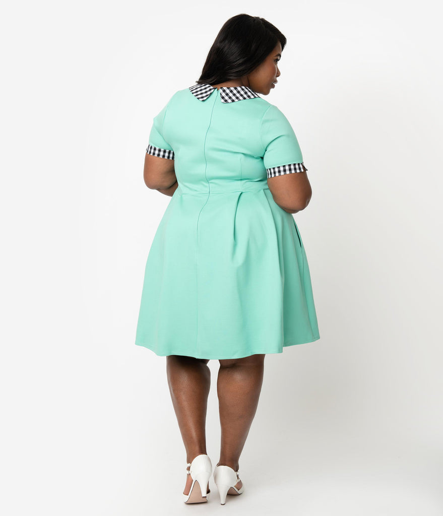 Smak Parlour Plus Size Mint & Black Gingham Babe Revolution Fit & Flare Dress