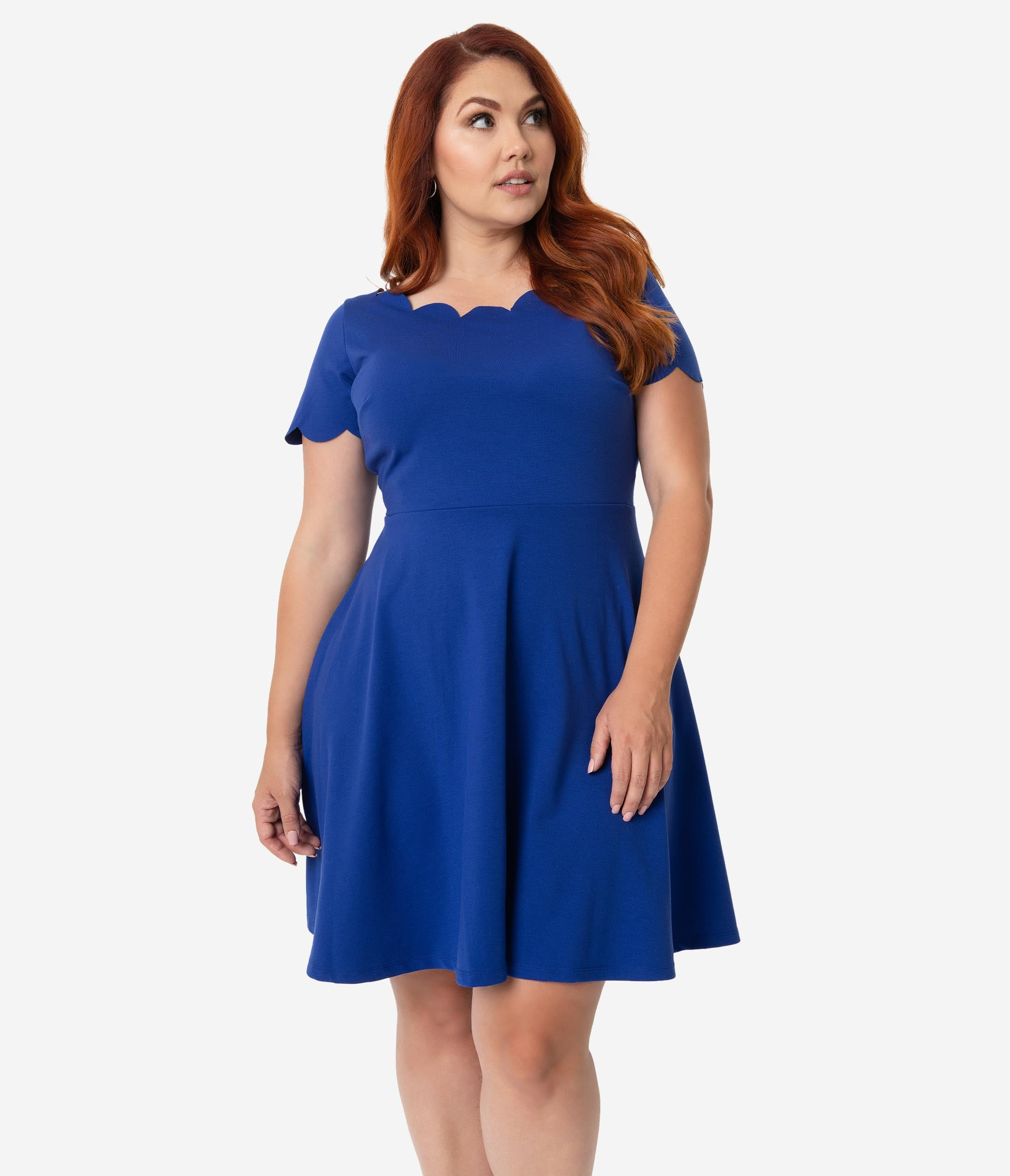 09bb71423648 Smak Parlour Plus Size Royal Blue Stretch Scalloped Short Sleeve Charmed  Fit & Flare Dress