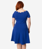 Smak Parlour Plus Size Royal Blue Stretch Scalloped Short Sleeve Charmed Fit & Flare Dress