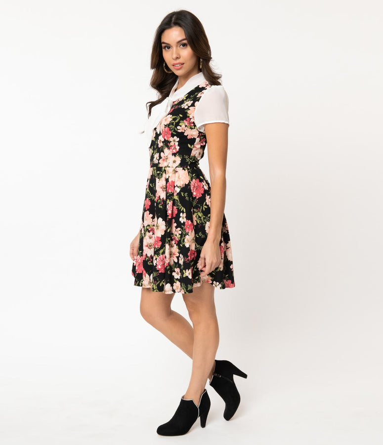 Smak Parlour 1960s Style Black & Pink Floral Empower Hour Fit & Flare Dress