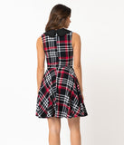 Smak Parlour Vintage Style Black & Red Plaid Cotton Fortune Slayer Fit & Flare Dress