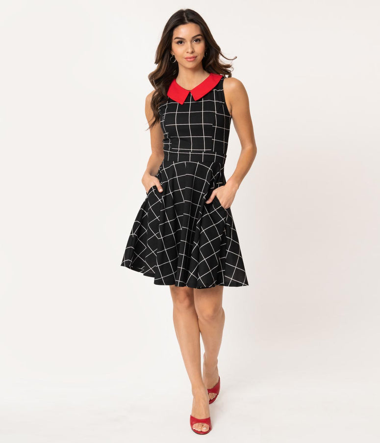 Smak Parlour Black & White Windowpane Red Collar Closing Night Fit & Flare Dress