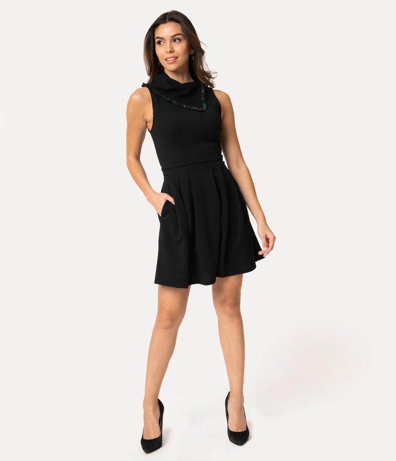 Smak Parlour Black Crepe Fold Over Collar Mod Respect Fit & Flare Dress
