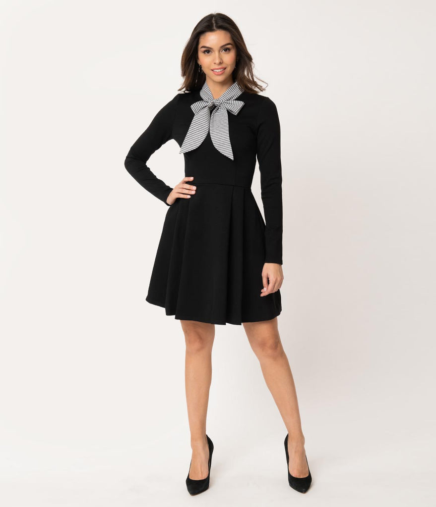 Smak Parlour Black & Grey Stripe Neck Tie Long Sleeve Truth Or Flare Dress