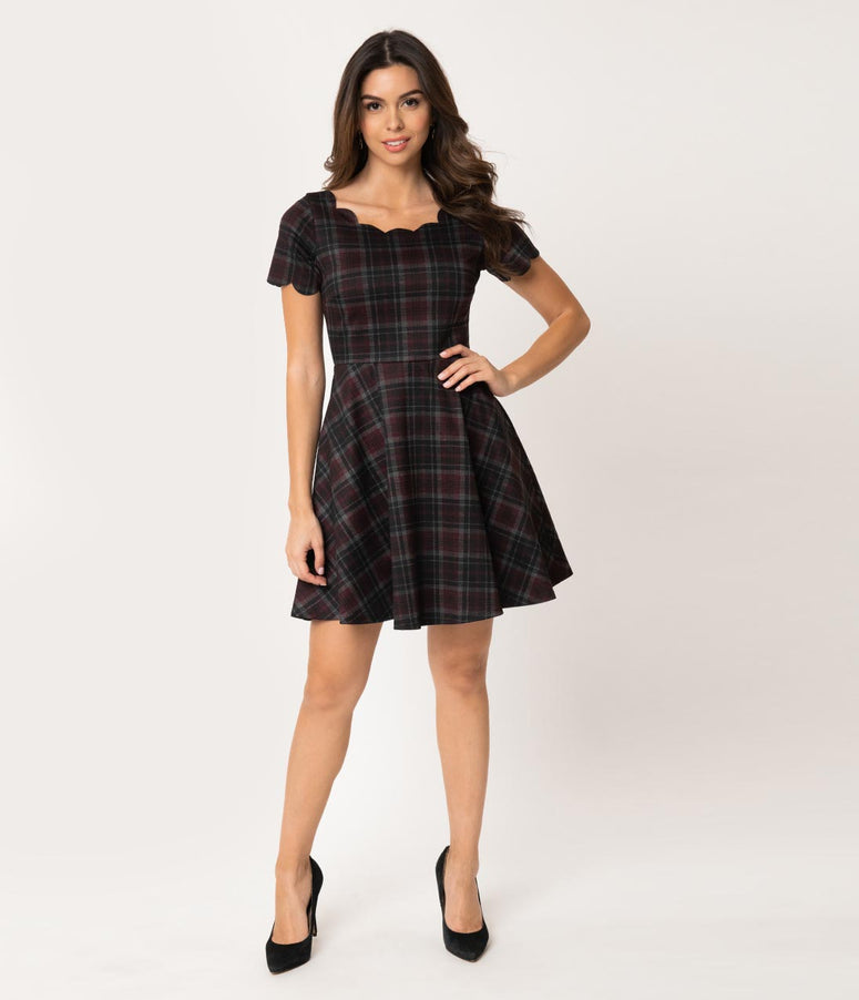 Smak Parlour Black & Burgundy Plaid Scalloped Short Sleeve Charmed Fit & Flare Dress