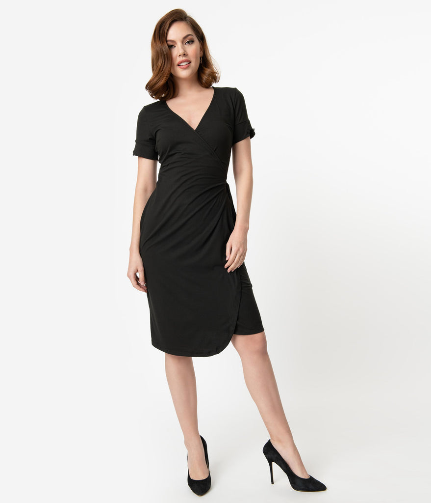 Unique Vintage 1950s Style Black Sleeved Karlie Wrap Dress