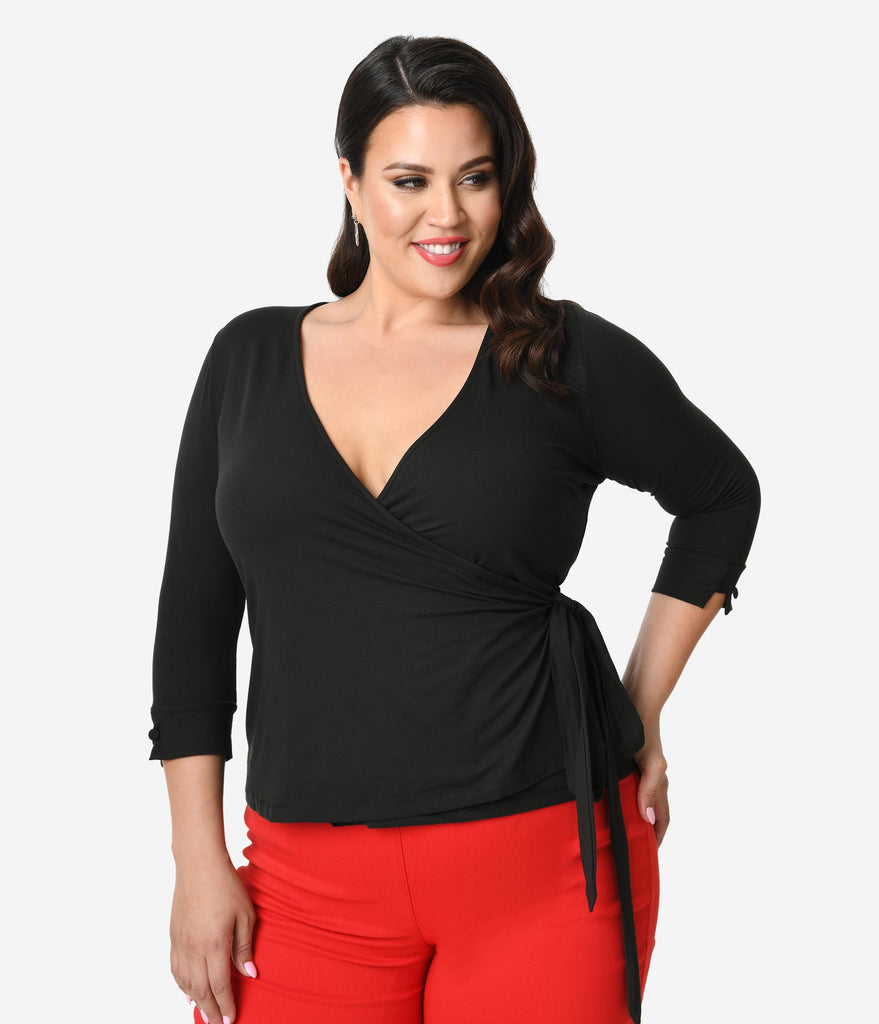 Unique Vintage Plus Size Black Knit Sleeved Liza Wrap Top