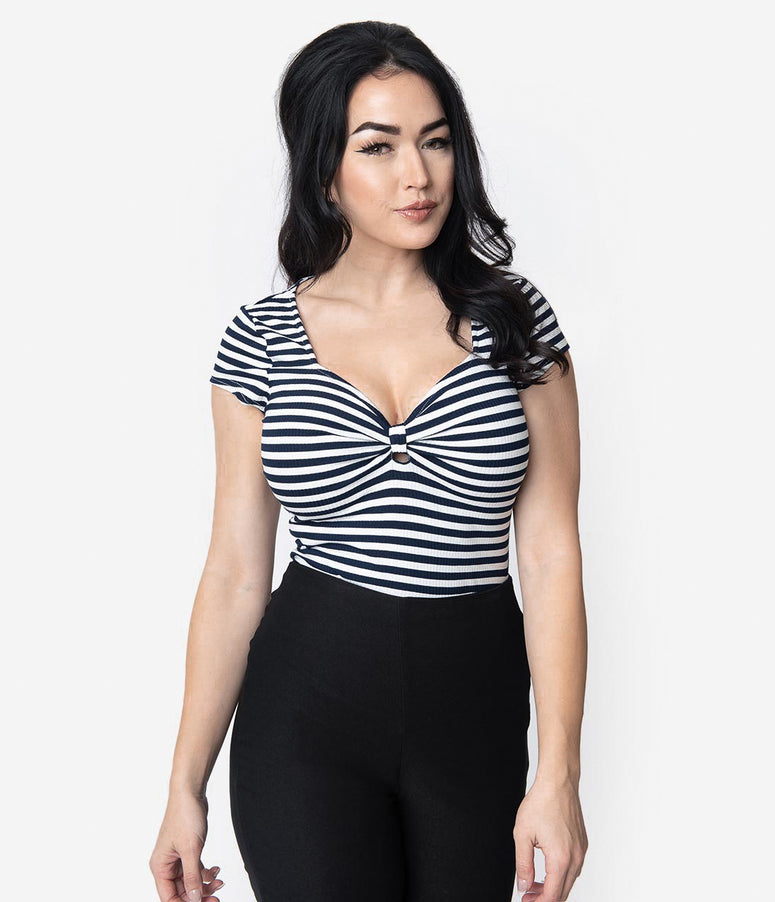 Unique Vintage 1950s Style Navy & White Stripe Knit Sweetheart Rosemary Top