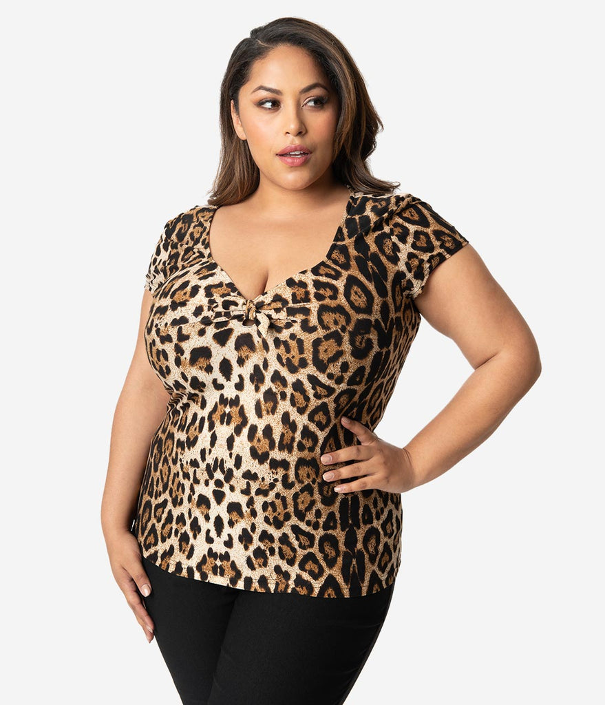 Unique Vintage Plus Size 1950s Style Leopard Print Knit Sweetheart Rosemary Top