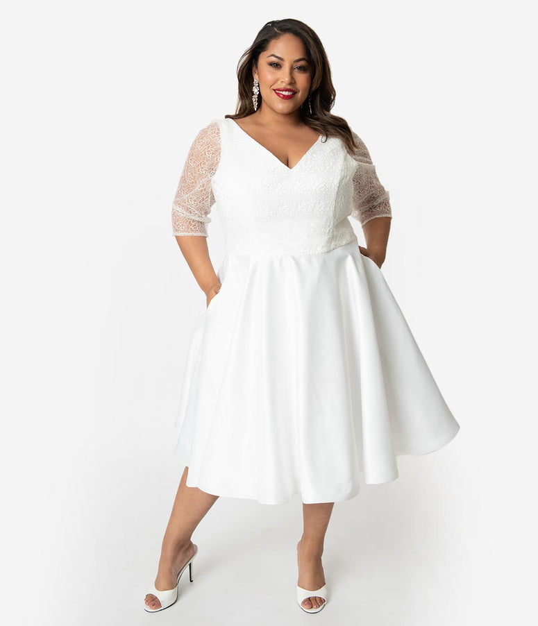 1b4bb011c4bd Unique Vintage x Dolly Couture Plus Size White Swirly Lace Juliette Tea  Length Bridal Dress