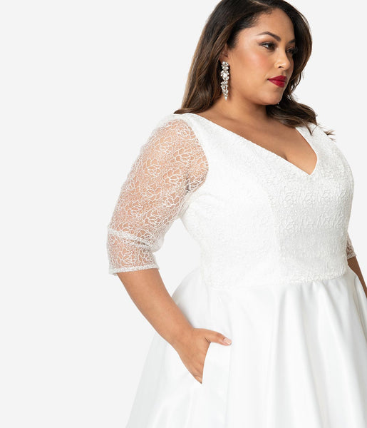 Unique Vintage X Dolly Couture Plus Size White Swirly Lace