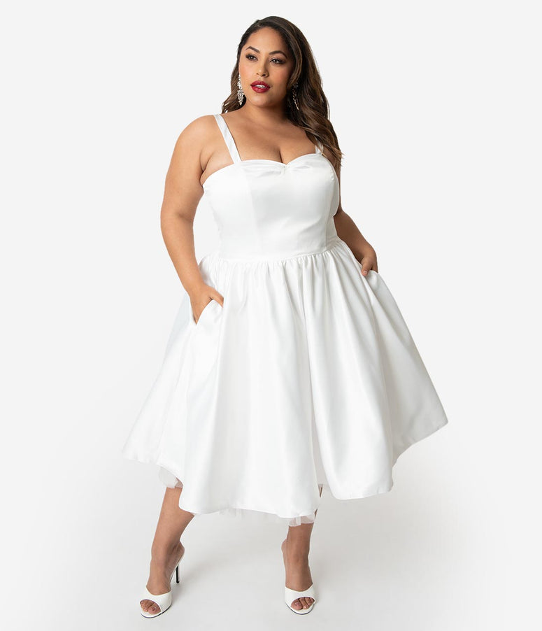 Unique Vintage x Dolly Couture Plus Size White Satin Tea Length Brooklyn  Bridal Dress 78d5681fd