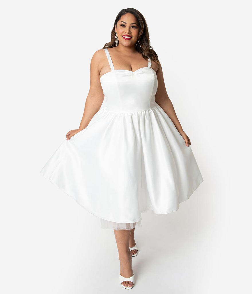 Unique Vintage x Dolly Couture Plus Size White Satin Tea Length Brooklyn Bridal Dress