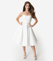 Strapless Sweetheart Tea Length Empire Natural Waistline Tiered Mesh Pocketed Pleated Banding Gathered Swing-Skirt Wedding Dress