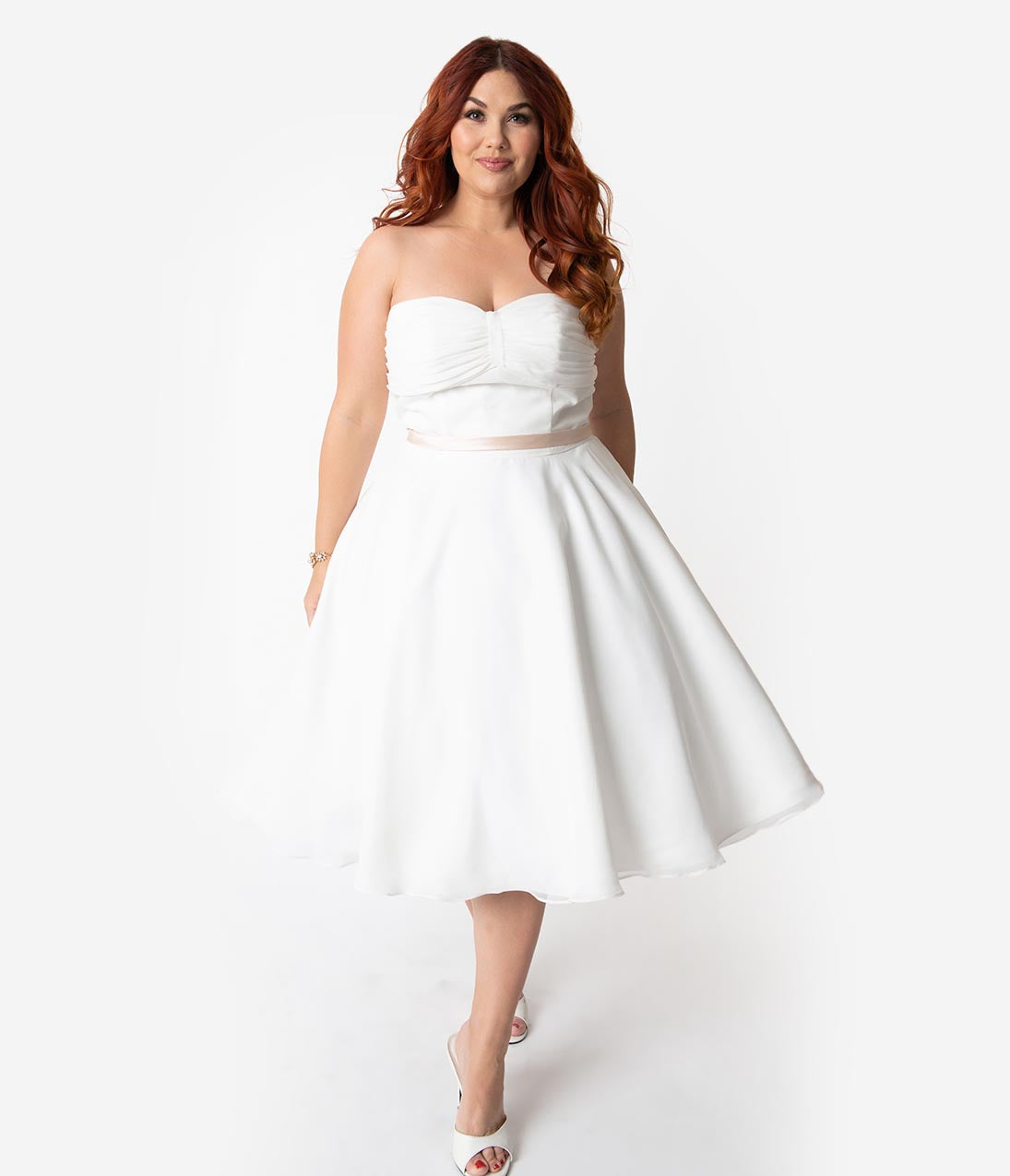 Plus Size Strapless Tea Length Swing-Skirt Gathered Mesh Pleated Banding Pocketed Tiered Empire Natural Waistline Sweetheart Wedding Dress