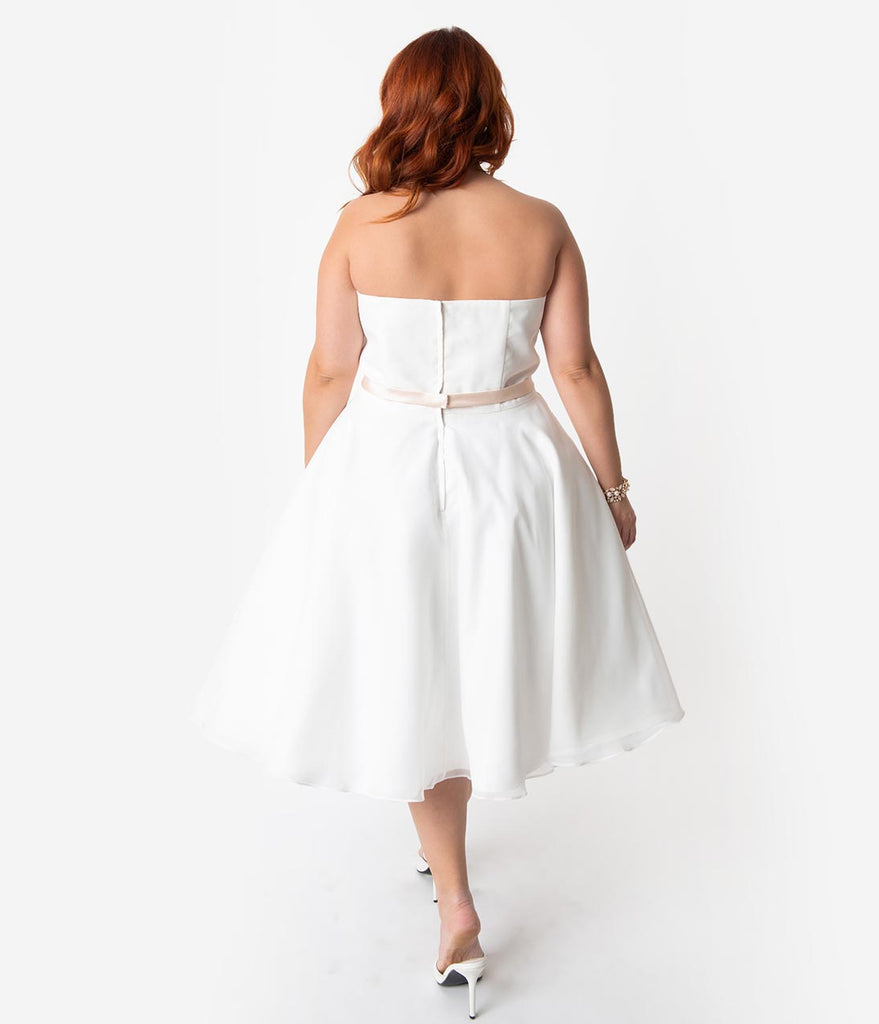 34ee3cb392be ... Unique Vintage x Dolly Couture Plus Size White Strapless Maryville Tea  Length Wedding Dress ...