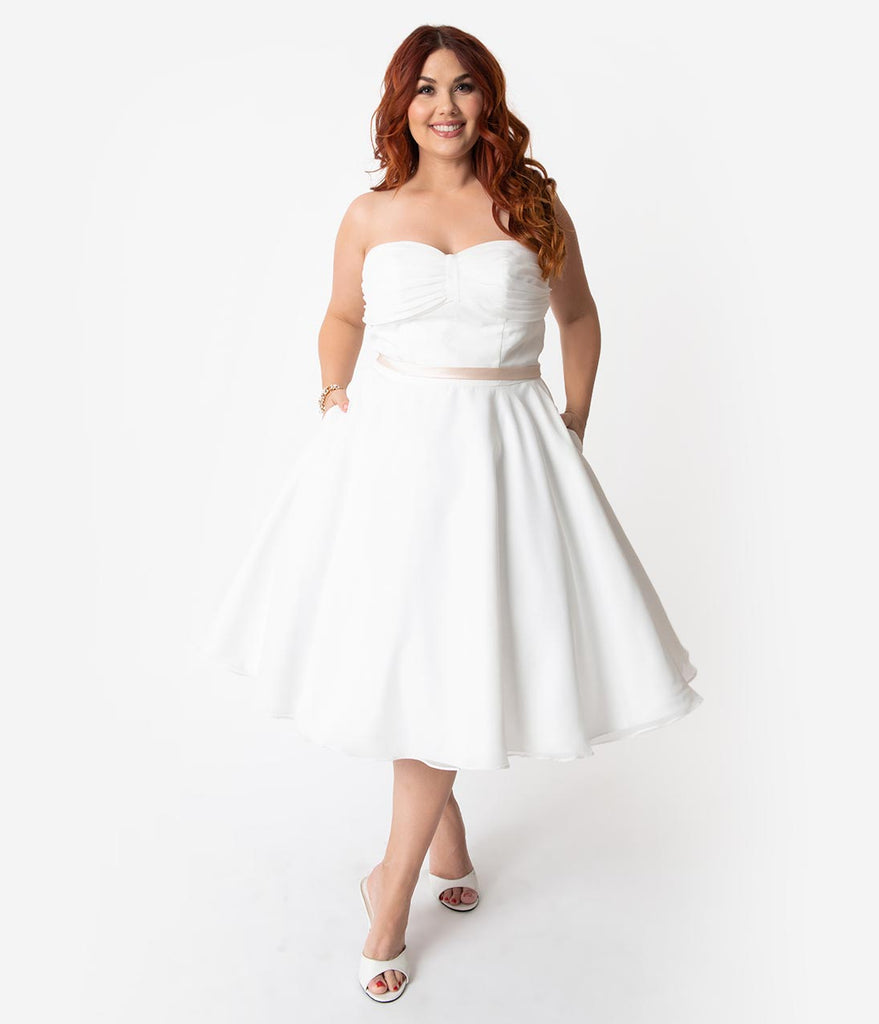 Unique Vintage x Dolly Couture Plus Size White Strapless Maryville Tea  Length Wedding Dress