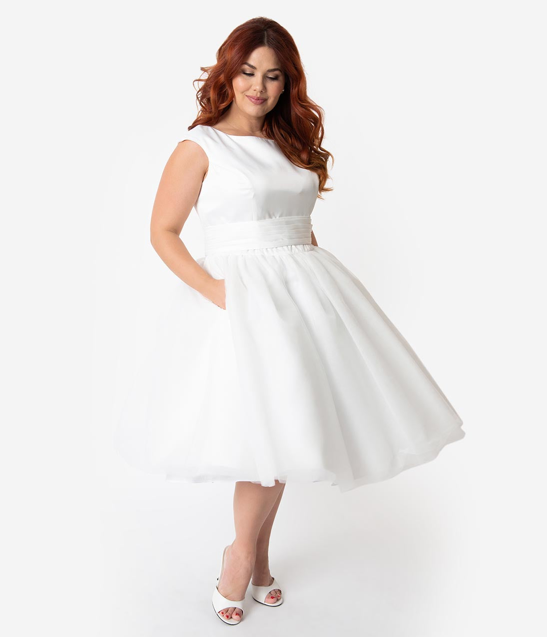 1950 Style Clothing- A Shopping Guide Unique Vintage X Dolly Couture Plus Size White Satin  Mesh Tea Length Holly Wedding Dress $190.00 AT vintagedancer.com