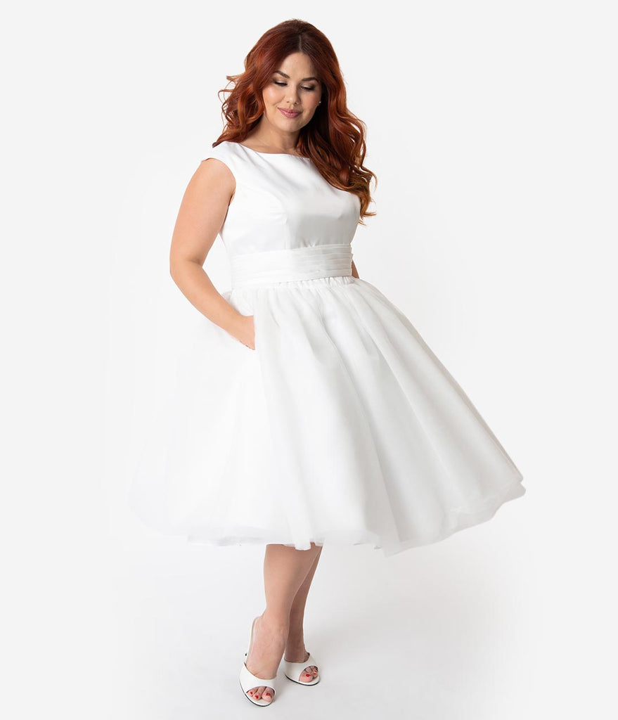 Unique Vintage x Dolly Couture Plus Size White Satin & Mesh Tea Length  Holly Wedding Dress